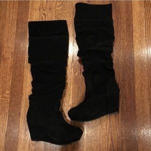 Steve Madden black wedge boots 7